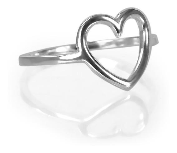 Anel Em Prata 925 Coração Médio Estilo Pandora