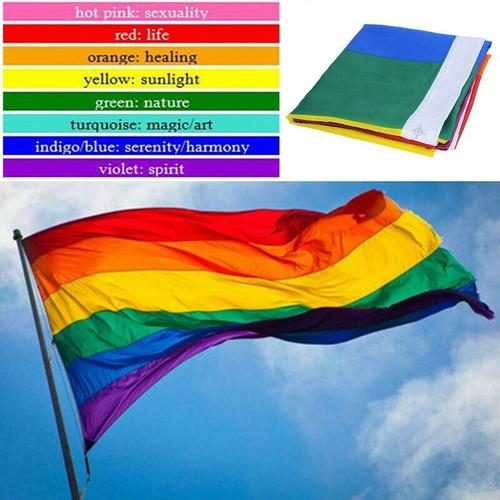Imagen 1 de 5 de Bandera Lgbt Orgullo Gay Arco Iris Paz Bisexual Transgenero