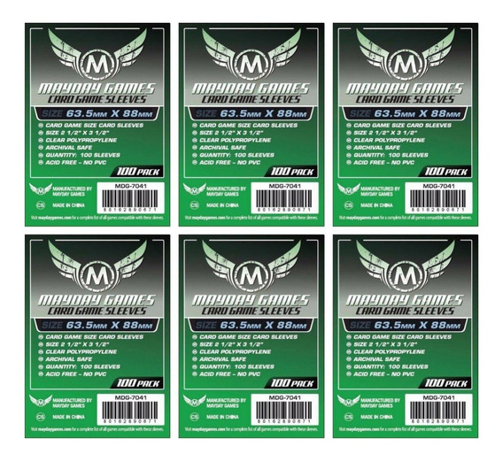 6 Pacotes Mayday 100 Cardgame Sleeves Padrão - 63,5mmx88mm