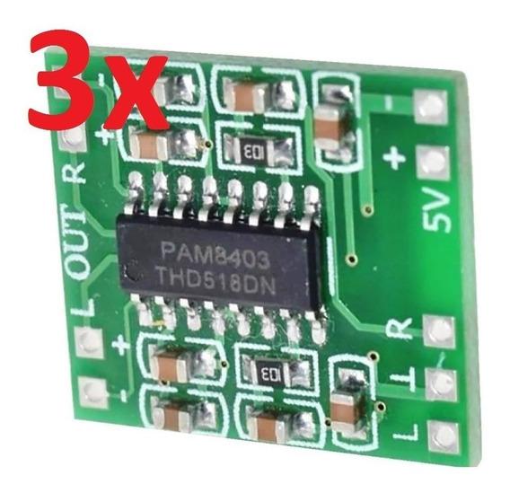 3 Mini Amplificador Digital Som Estéreo 2x3w 5v Pam8403