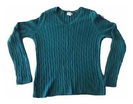 Suéter Americano Algodón Rayas Azul Verde Mujer Cuello V Dam