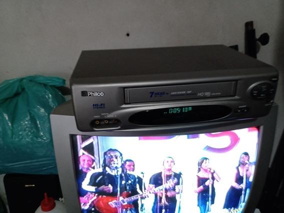 Vídeo Cassete Philco Pvc Hf16 7 Cabeças Stereo Funcionando