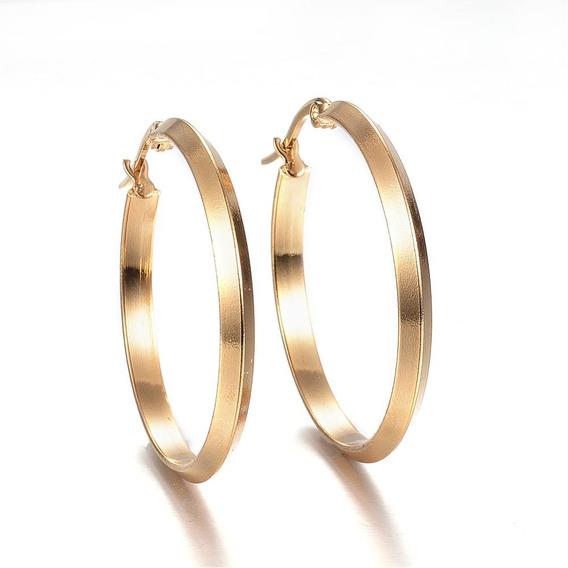 Aretes, Arracadas Acero Inoxidable Color Oro 34.5x33x3 Mm