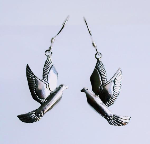 Fofos Brincos Em Prata Com Design Pássaros