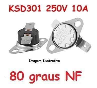 Termostato Ksd301 80 Graus Normal Fechado - 250 V 10 A