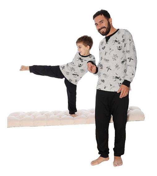 Pijama Hombre Invierno Estampado Manga Larga Pantalon Largo