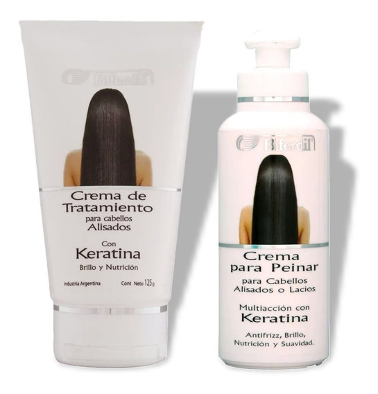 Crema Para Peinar + Tratamiento Biferdil Cabellos Alisados