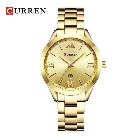 Relógio Feminino Dourado A Prova D Água Curren Com Garantia