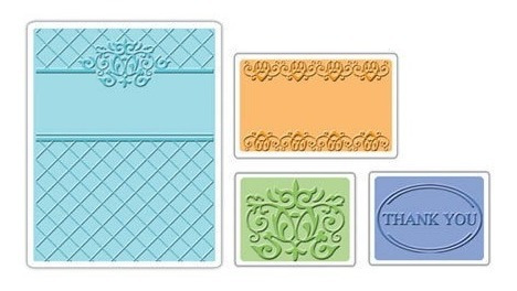 Set 4 Carpetas Texturizadoras Embossing Sizzix Gracias