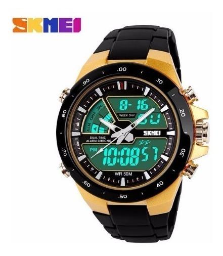 Relógio Esportivo Importado Masculino Skimei Quartzo Dourado