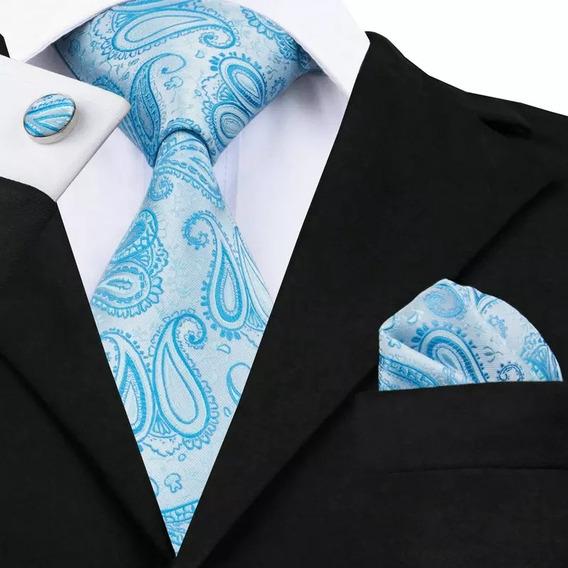 B476 Seda | Corbata Pañuelo Mancuernillas - Gargoleada Azul