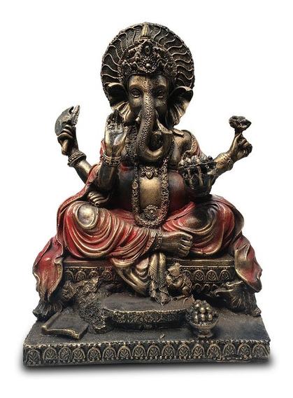 Imagem Ganesha Indiano Prosperidade Em Repouso 30cm Resina