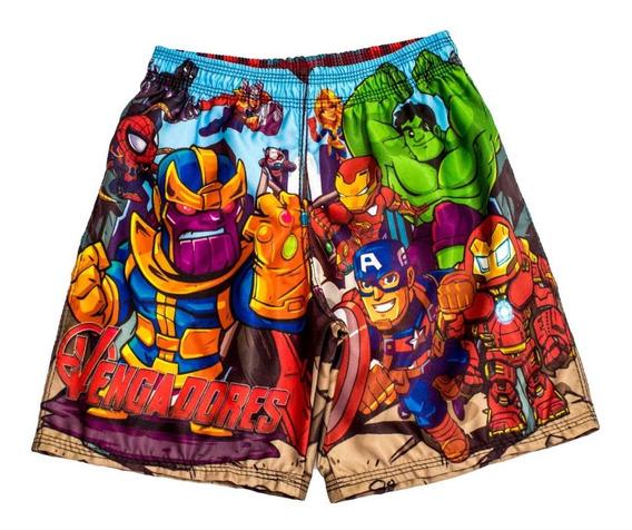 Short Para Niños De Vengadores - Hulk - Iron - America -thor