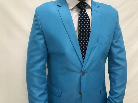 Blazer+ Calça Azul Celeste Slim Microfibra Masculino + Capa
