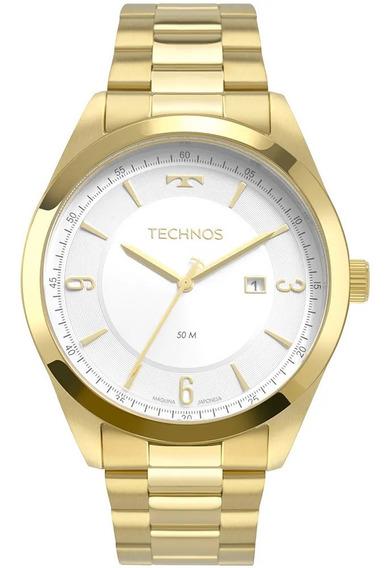 Relógio Masculino Dourado Technos Com Data Mostrador Branco