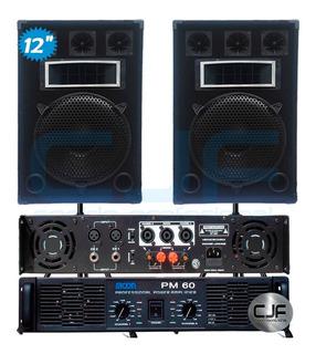 2 Bafles 12 3vias 400w+ Amplificador Potencia Moon Pm 60 Cjf