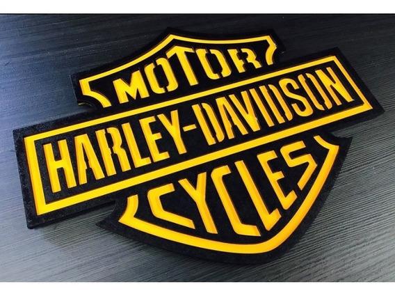 Placa Decorativa Quadro Entalhado Madeira Harley Davidson Am
