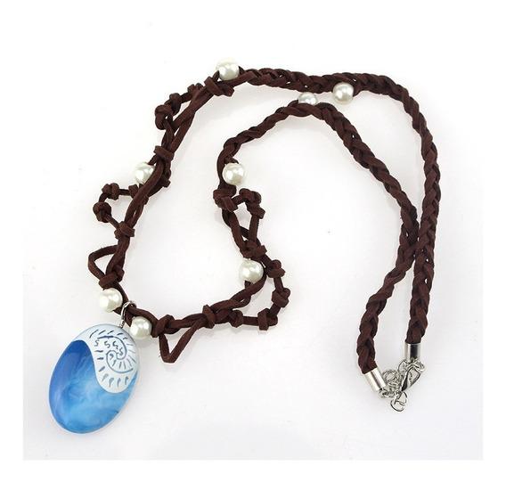 Medalha Colar Cordão Pingente Pedra Azul Moana Princesa