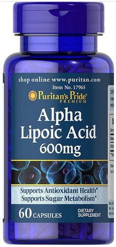 Acido Alfa Lipoic 600mg 60 Capsulas - Importado De Usa