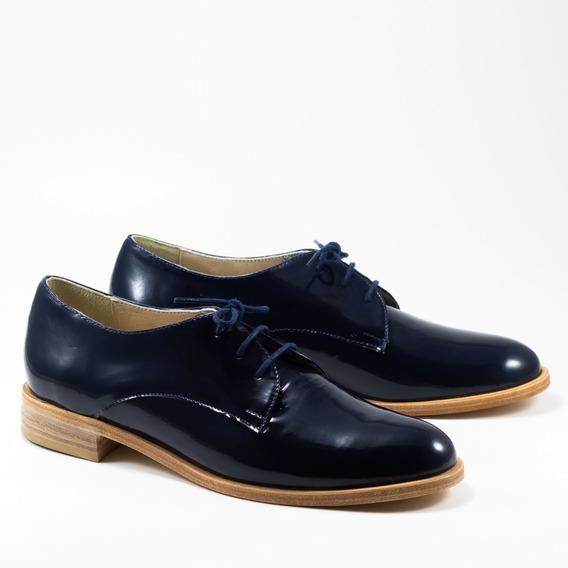 Zapato Abotinado De Charol De Mujer- Bygint: Vernice Azul