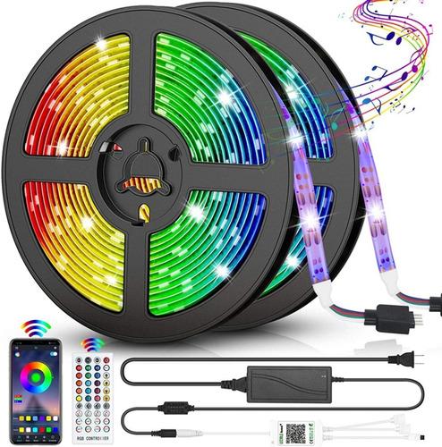 Imagen 1 de 9 de Tira De Luces Led Con Bluetooth Música Rgb 5050 Ip65