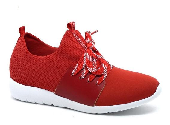Tênis Feminino Vermelho Via Uno 219091 Tecido/couro Eco