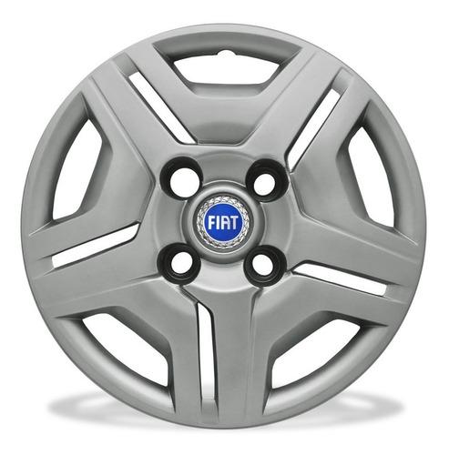 Calota Aro13 Prata Fiat Palio Uno Siena E Outros + Emblema A