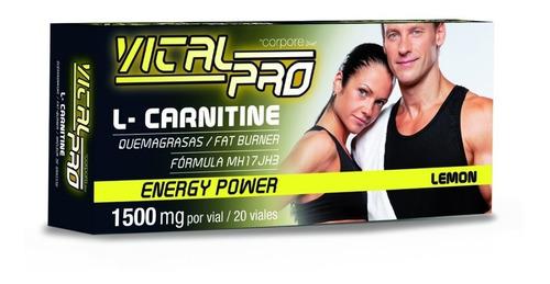 Quemador De Grasa L- Carnitina Vital Pro 1500 Mg 20 Tomas