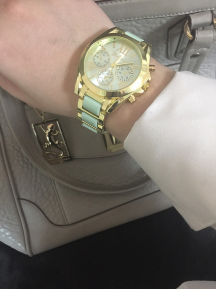 Relógio Feminino Dourado E Verde Água