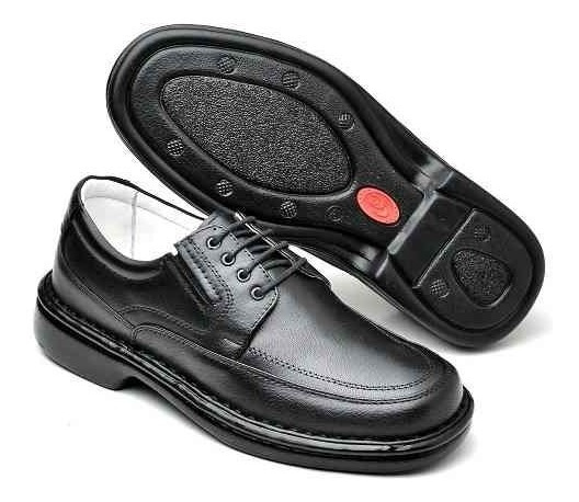 Sapato Masculino Social Casual Antistress Diabetico Ortopedico Anatomico Original Couro Legitimo Palmilha Gel Promoçao