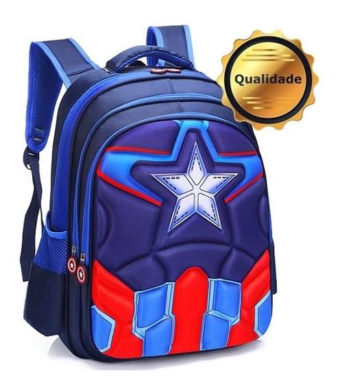 Bolsa Mochila Escolar Infantil Capitão América Ultimato 3d