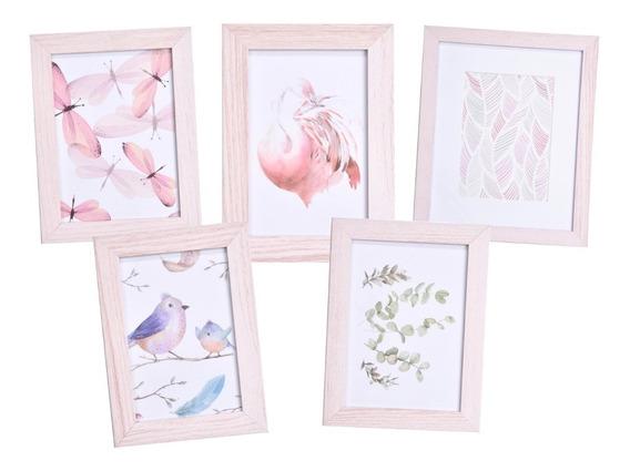 Kit 5 Quadros Decorativos Modernos Rosa Begônia