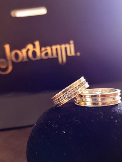 Alianças De Prata, Ouro Rose E Pedras De Zircônia; Jordanni