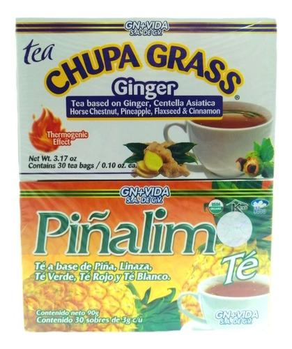Kit Te Chupa Grass Jengibre Y Piñalim 30 Sobres Gn+vida Env