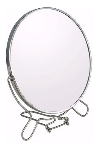 Espejo Con Aumento Doble Faz 7 Pulgadas Maquillaje Metalico