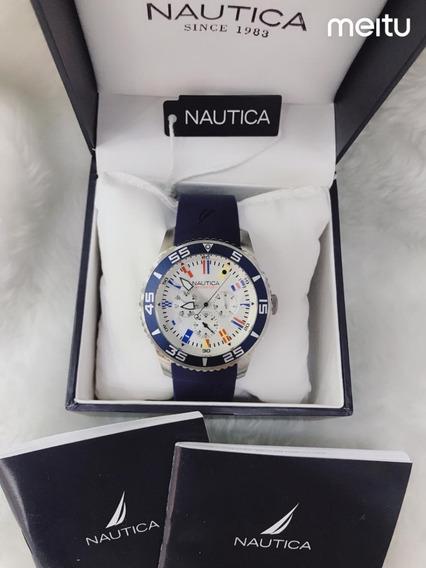 Relogio Ggt8542 Nautica Azul Mostrador Branco Com Caixa