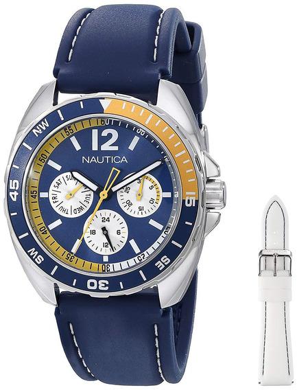 Relógio Náutica Masculino Esporte Com 2 Pulseiras N09915g