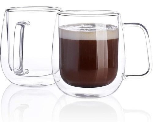 Mug De Vidrio Insulado Doble Pared Para Café - Pack X 2
