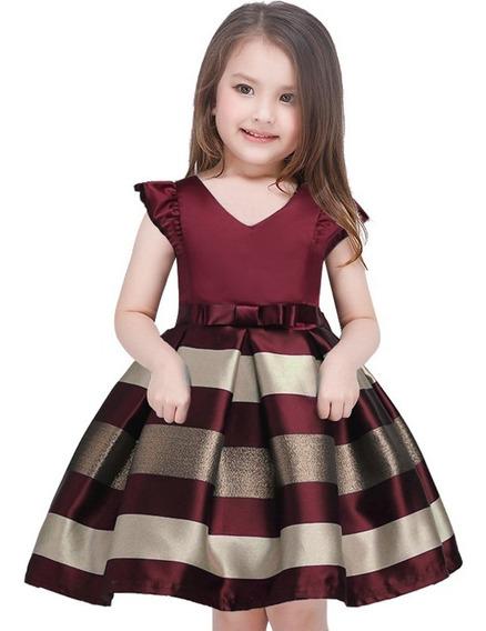 Vestido Infantil De Festa Vermelho Azul 2 4 6 8 10 E 12 Anos