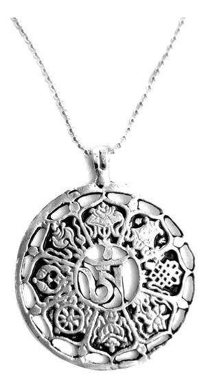 Colar Símbolos Fortuna Mandala Tibetana Banhado A Prata