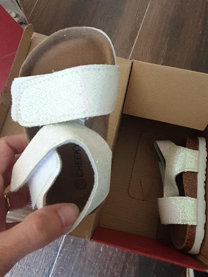 Sandalias Cheeky Nuevas Talle 21 Blancas Con Brillo Hermosas