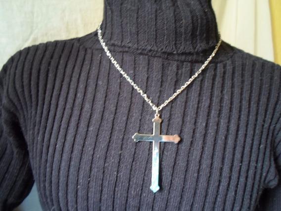 Corrente Colar De Crucifixo Cordão Masculino Prateado