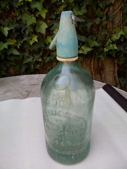Sifon Vidrio Cabeza Plastica Antiguo