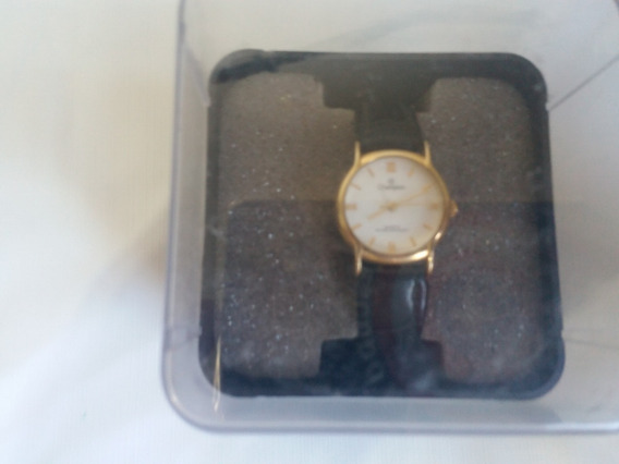 Relógio Champion Feminino Dourado Couro Preto Ch25070m
