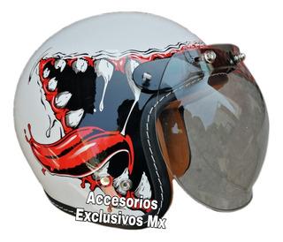Casco Cafe Racer Mica Burbuja Shark Jet Negro Rojo Vento Hd
