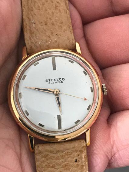 Reloj Antiguo Steelco De Cuerda Oro Laminado