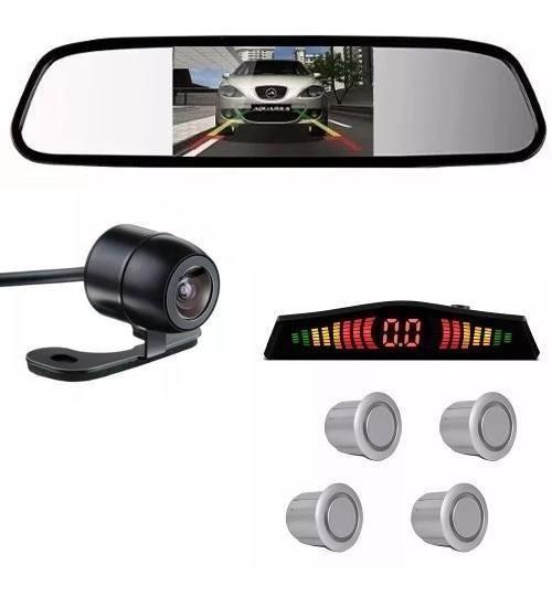 Kit Sensor De Estacionamento Prata Camera De Re Espelho Lcd