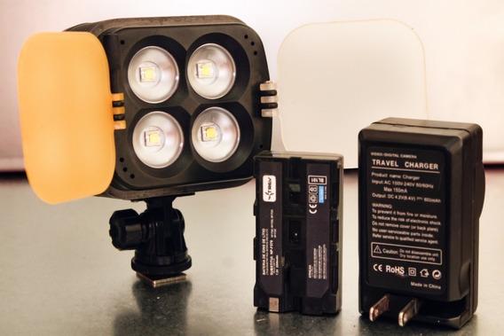Iluminador Sun Gun De 4 Super Leds 2800lm Dslr E Filmadoras