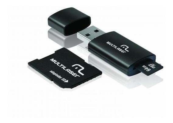 Pen Drive Multilaser 64gb Mc115 3 Em 1 Adaptador + Micro Sd