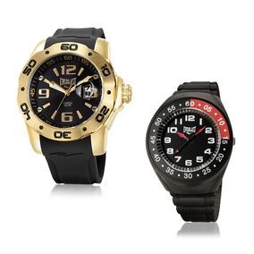 Relógio Everlast Masculino Analógico E527 Dourado Preto